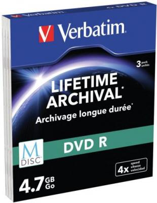 M-DISC VERBATIM DVD-R 4X 4.7GB MATT SILVER SLIM CASE 3 43826