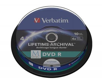 M-DISC VERBATIM DVD-R 4X 4.7GB PRINTABILE PACK10 43824