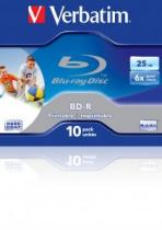 BD-R VERBATIM SINGLE LAYER 6X 25GB PRINTABLE JEWEL CASE 43713