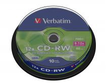 CD-RW VERBATIM 700MB 12X SCRATCH RESISTANT SPINDLE 10 43480