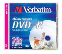 DVD+R VERBATIM 4.7GB 16X ADV AZO WIDE PRINTABLE JEWELCASE 43508