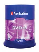 DVD+R VERBATIM 4.7GB 16X MATT SILVER SPINDLE 100 43551