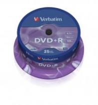 DVD+R VERBATIM 4.7GB 16X MATT SILVER SPINDLE 25 43500
