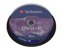 DVD+R VERBATIM 4.7GB 16X MATT SILVER SURFACE SPINDLE 10 43498