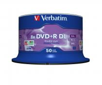DVD+R VERBATIM 8.5GB 8X DOUBLE LAYER SILVER SPINDLE 50 43758