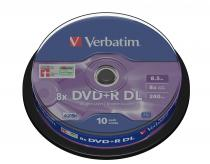 DVD+R VERBATIM DOUBLE LAYER 8X 8.5GB MATT SILVER SPINDLE 10 43666