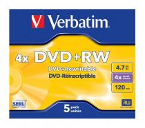 DVD+RW VERBATIM 4.7GB 4X MATE SILVER JEWEL CASE 43229
