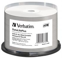 DVD-R VERBATIM 16X 4.7GB GLOSSY PRINTABLE WATERPROOF SPINDLE 50 43734