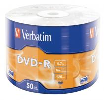 DVD-R VERBATIM 16X WRAP 4.7GB MATT SILVER SHRINK 50 43788