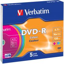DVD-R VERBATIM 4.7 GB 16X SLIM CASE PASTEL COLOURS 43557 5 PACK