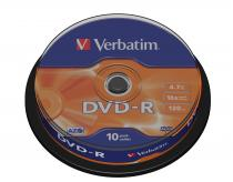 DVD-R VERBATIM 4.7GB 16X MATT SILVER SPINDLE 10 43523