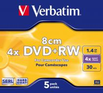MINI DVD+RW VERBATIM 1.46GB 4X MATT SILVER JEWELCASE 43565